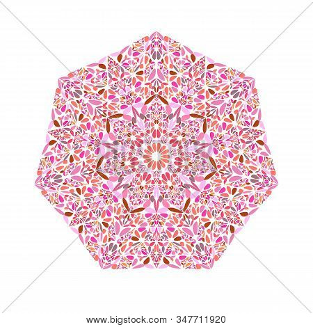 Geometrical Floral Ornament Heptagon Logo Template - Geometric Ornamental Colorful Vector Design Ele