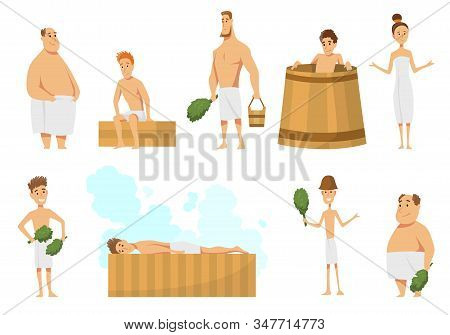 Collection Of People Bathing In Sauna Or Banya Full Of Steam. Activity For Wellness And Recreation.