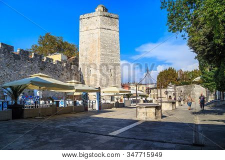 Zadar, Croatia - September 14, 2016: The Tower Of Captain With Ramparts Are Part Preserved Fortifica
