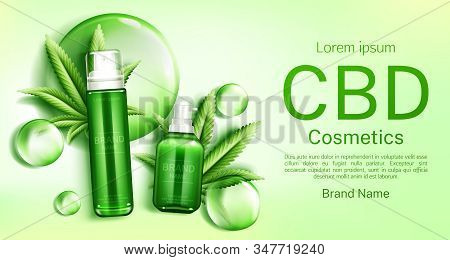 Cbd Cosmetics Bottles With Cannabis Leaves And Bubbles Web Banner Mockup, Glass Tubes With Hemp Cann