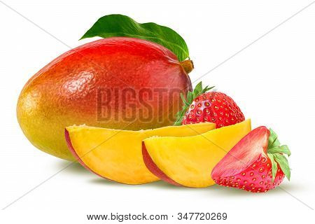 Strawberry And Mango Isolated On White. Perfect Composition With Ripe Mango And And Juicy Strawberry
