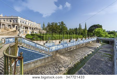 Queluz, Portugal - April 2018: View In The Park Of The National Royal Palace