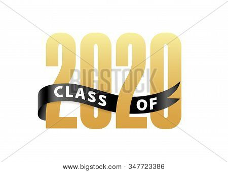 Class Of 2020 Gold Lettering Graduation 3d Logo With Ribbon. Graduate Design Yearbook Vector Illustr