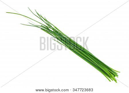 Several Fresh Leaves Of Chives Isolated On White Background