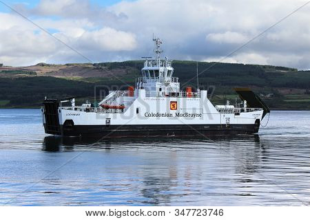 Mull, Scotland, July 29 2018: Ferry Arriving At Fishnish On The Isle Of Mull, In The Scottish Highla