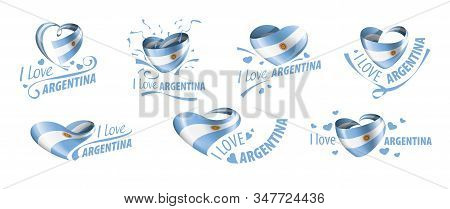 National Flag Of The Argentina In The Shape Of A Heart And The Inscription I Love Argentina. Vector