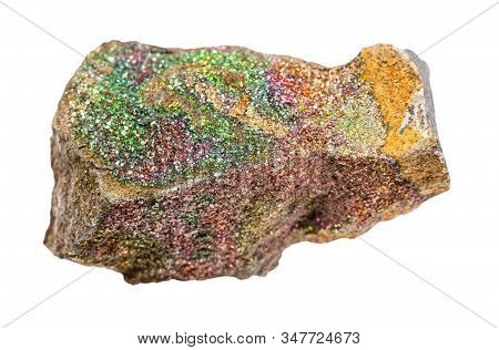 Closeup Of Sample Of Natural Mineral From Geological Collection - Rough Rainbow Pyrite Rock Isolated