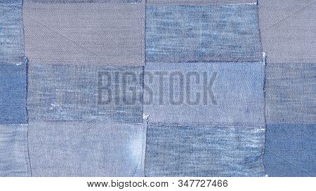 Textile Panoramic Background - Patchwork From Many Old Blue Denim Flaps