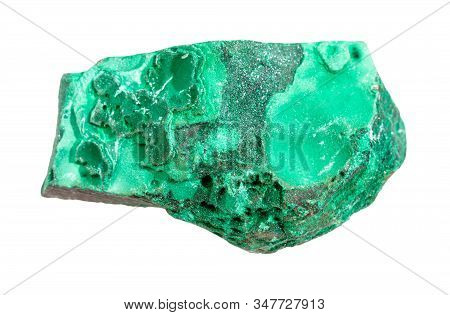 Closeup Of Sample Of Natural Mineral From Geological Collection - Raw Malachite Rock Isolated On Whi