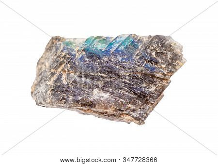 Closeup Of Sample Of Natural Mineral From Geological Collection - Raw Labradorite Rock Isolated On W