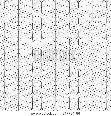 Abstract Cover Of Black And Gray Line Geometric Pattern Design Background. Decorate For Ad, Poster,