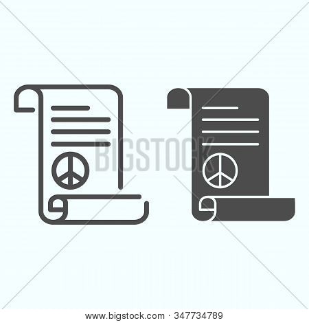 Peace Treaty Line And Solid Icon. Document With Peace Symbol Vector Illustration Isolated On White.