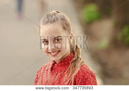 Innocence And Purity Concept. Tender Small Kid Smiling Beautiful Face. Happiness And Joy. Toothy Smi