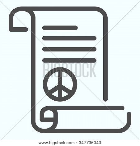 Peace Treaty Line Icon. Document With Peace Symbol Vector Illustration Isolated On White. Pacific Sy