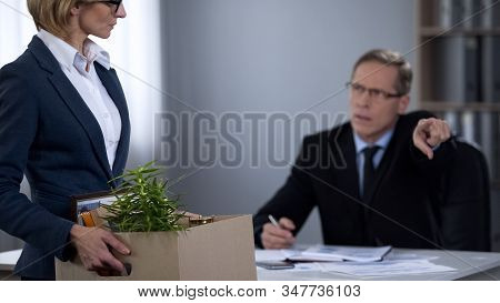 Boss Dismissing His Secretary, Incompetent Unprofessional Worker, Lay-off