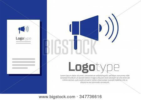 Blue Megaphone Icon Isolated On White Background. Loud Speach Alert Concept. Bullhorn For Mouthpiece