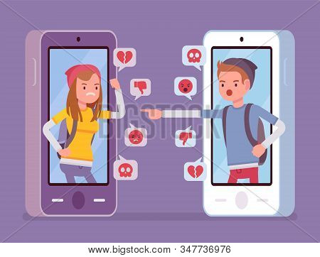 Cyberbullying, Teenagers Smartphone Bullying And Harmful Gadget Harassment. Hating, Drama, Gossip Or