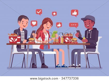 Gadget Addiction, Friends At Dinner Dependent On Smartphones. Group Of Young People Having Lunch Tog