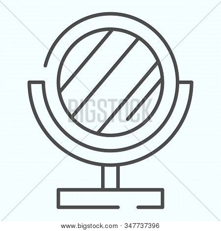 Mirror Thin Line Icon. Small Standing Mirror Vector Illustration Isolated On White. Round Makeup Mir