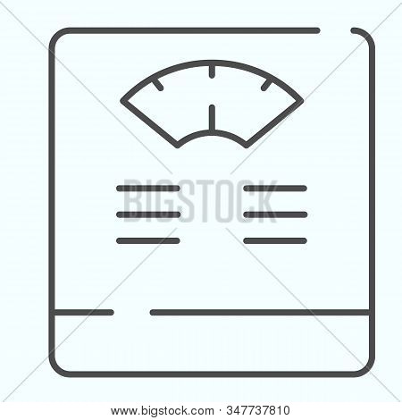 Floor Scales Thin Line Icon. Bathroom Scales Vector Illustration Isolated On White. Weighing-machine