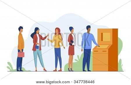 People Waiting In Queue For Bank Machine Vector Illustration. Customers Standing In Line For Payment