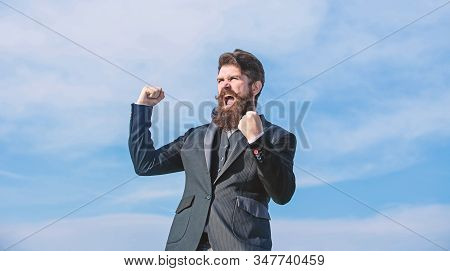 Bearded Man. Mature Hipster With Beard. Brutal Caucasian Hipster With Moustache. Future Success. Mal