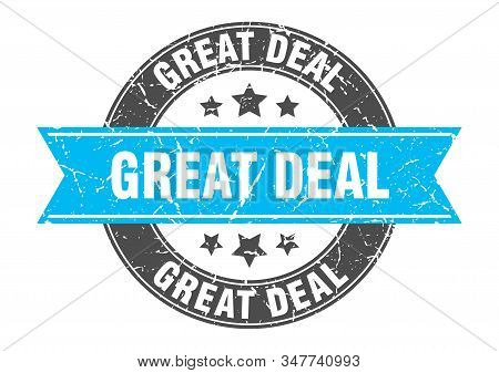 Great Deal Round Stamp With Turquoise Ribbon. Great Deal