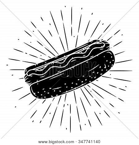Hand Drawn Vector Illustration With Hot Dog And Divergent Rays. Used For Poster, Banner, Web, T-shir