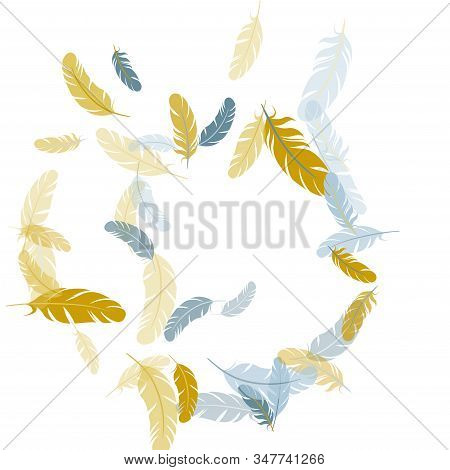 Carnival Silver Gold Feathers Vector Background. Quill Plumelet Silhouettes Illustration. Wildlife N