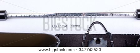 Panoramic Image. Online News - Written On An Old Typewriter, Vintage Newsletter Bulletin