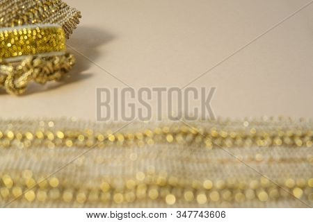 Luxury Golden Glow Hand Made Bokeh Defocus Decorations Concept Fashion Production Jewellry Copy Spac