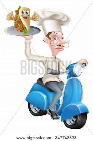 An Illustration Of A Chef On Scooter Moped Delivering Pita Kebab