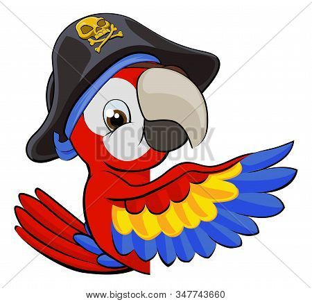 Cartoon Parrot Bird Character Mascot In A Pirate Hat Peeking Around A Sign And Pointing With A Wing