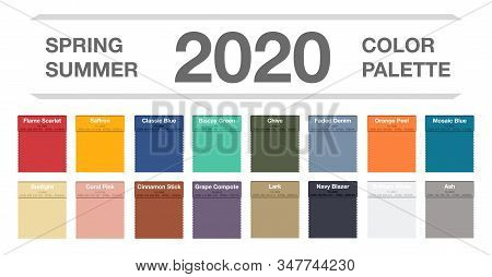 Spring And Summer 2020 Colors Palette On White. Fashion Trend Guide. Palette Fashion Colors Guide Wi
