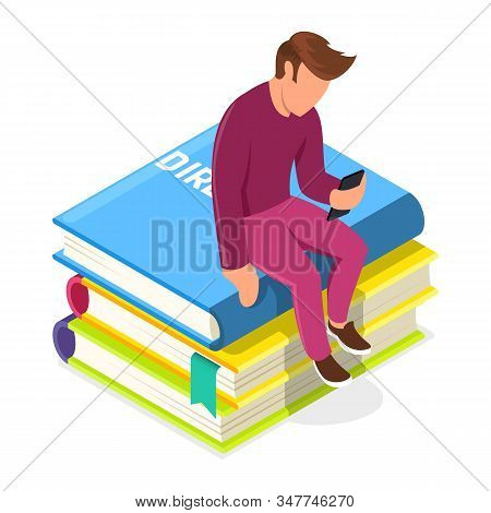 Young Man Sitting On Pile Of Books And Looking To Smartphone. Guy Using Media Library Or Administrat
