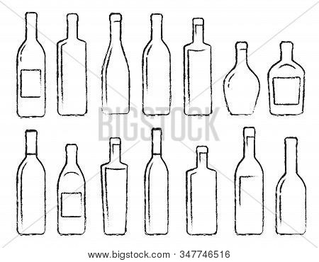 Hand Drawn Black Alcohol Bottle Set Icons