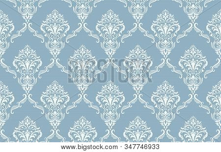 Damask Seamless Pattern Background. Vector Classical Luxury Old Damask Ornament, Royal Victorian Sea