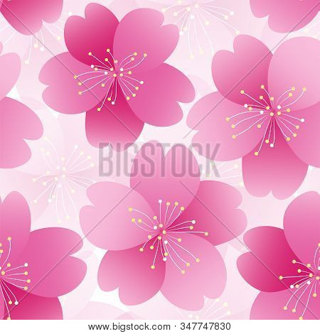 Sakura Flower Seamless Pattern Element. Texture For Backgrounds. Romantic Pink Flower. Spring Flower