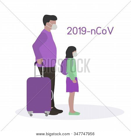 Vector Illustration People Passengers Wearing Breathing Mask To Protect From 2019-ncov China Pathoge
