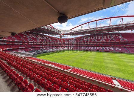 Lisboa, Portugal - April 2018: View At Estadio Da Luz - The Official Playground Of Fc Benfica
