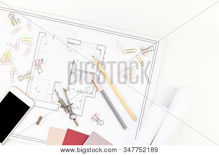 Blueprint Flat Project Plan And Office Supplies On Decorator Table Workspace. Swatches, Tools, Smart