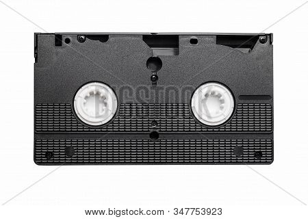 Black Vhs Tape Isolated On White. Outdated Technology Background. Old Times Analog Video Tape.