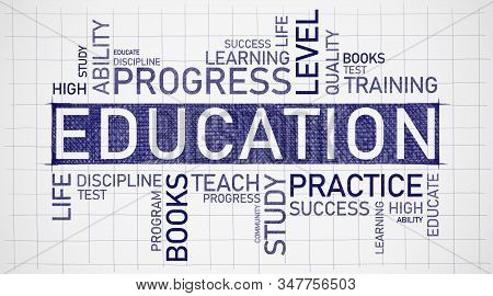 Education Wordcloud Concept. Educational Background With Words Practice, Educate, Learning On Graph