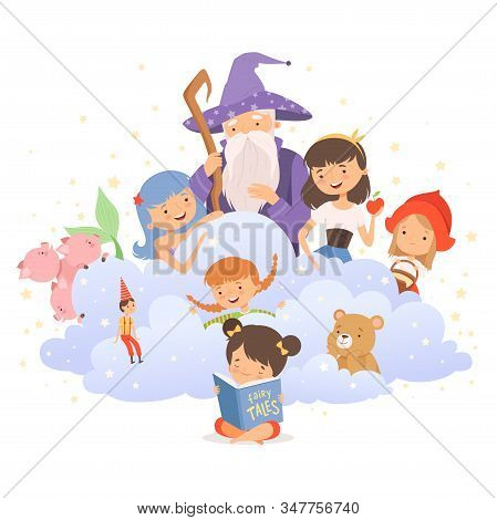 Little Girl Holding Opened Book Reading Fairy Tale With Fairy-tale Characters Sitting Behind Her Vec