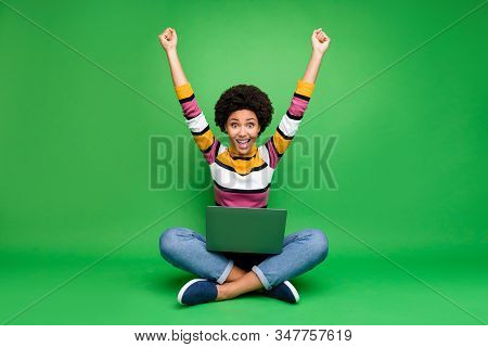 Full Length Photo Of Crazy Funky Afro American Girl Work Laptop Sit Legs Crossed Win Coworking Deal