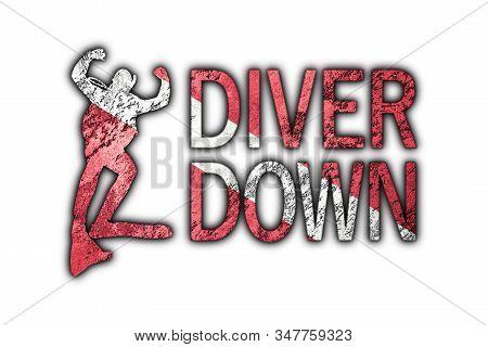 Diver Down Flag, Diver Silhouette, Vintage Style  Scuba Flag.
