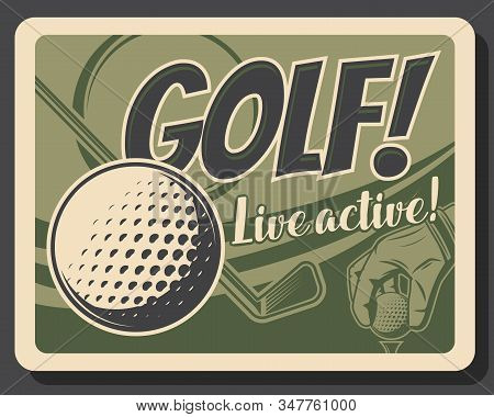 Golf Sport Ball, Club, Tee And Hand Of Golfer. Golf Player Equipment, Sporting Items And Golfing Glo