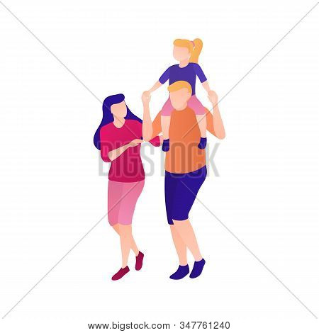 Mom Dad And Daughter On A Walk Flat Illustration. Happy Family With A Preschooler Child Have Fun Tog