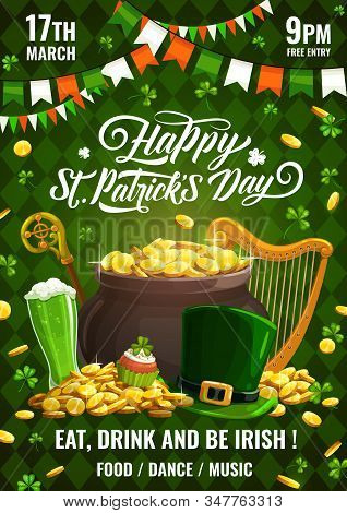 Patricks Day Invitation On Celebration Of Irish Spring Holiday 17 March. Vector Leprechauns Stick An