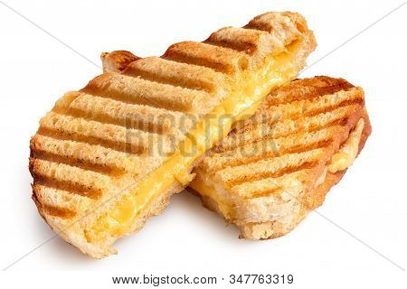 Toasted Cheese Sandwich With Grill Marks Cut In Half Isolated On White.